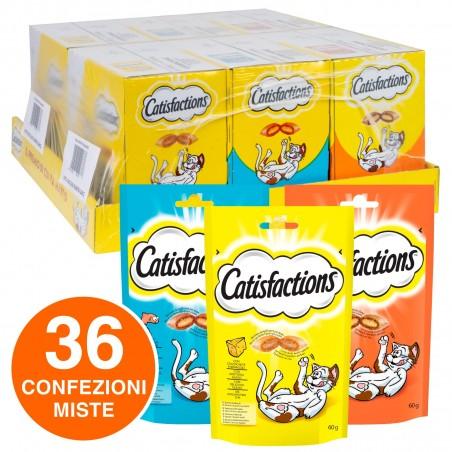 Catisfactions Kit Snack per Gatti 3 Gusti Salmone Formaggio Pollo - 36 Bustine