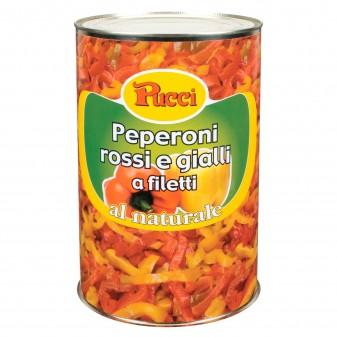 Pucci Peperoni Rossi e Gialli a Filetti al Naturale - Lattina da 4Kg