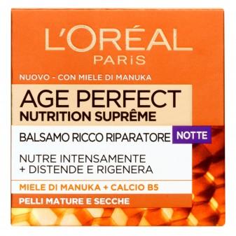 L'Oréal Paris Age Perfect Nutrition Supreme Balsamo Viso Riparatore Notte con Miele di Manuka e Calcium B5