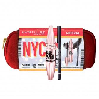Maybelline New York Arrival NYC Eyekit Mascara Nero + Matita Occhi Nera + Pochette