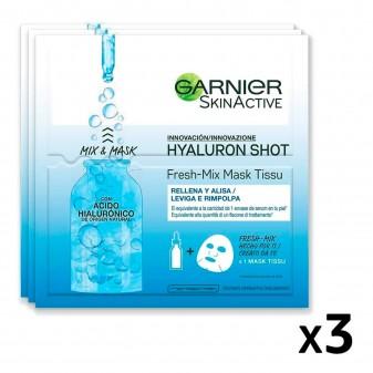 Garnier SkinActive Hyaluron Shot Fresh Mix Maschera in Tessuto Idratante e Rimpolpante con Acido Ialuronico - 3 Pezzi