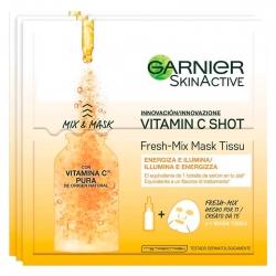Garnier SkinActive Vitamin C Shot Fresh Mix Maschera in Tessuto Energizzante e Illuminante con Vitamina C - 3 Pezzi