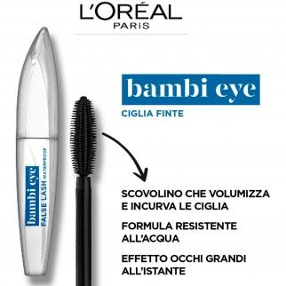 L'Oréal Paris Miss Bambi Eye False Lash Mascara Waterproof per Occhi da Cerbiatta Colore Nero