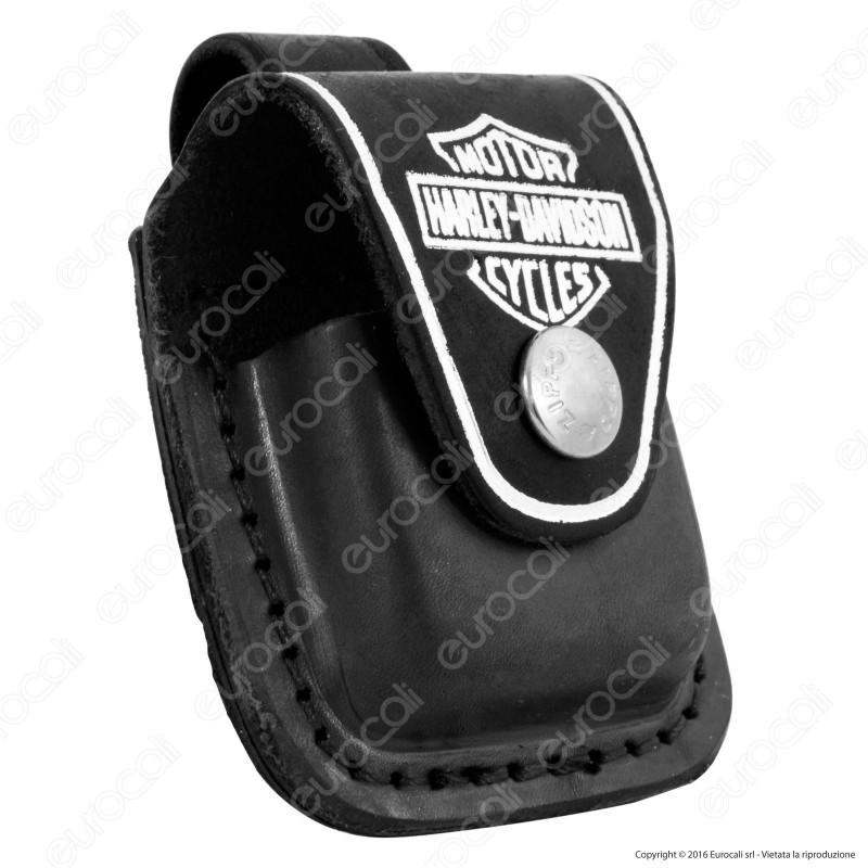 Custodia Zippo Harley-Davidson® in Vera Pelle per Accendini mod. HDPBK Colore Nero