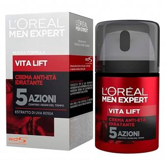 L'Oréal Paris Men Expert Vita Lift Crema Viso Idratante Anti-Età con Estratto di Uva Rossa - Flacone da 50ml