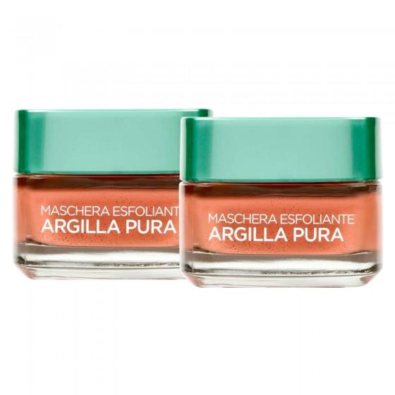 L'Oréal Paris Argilla Pura Maschera Viso Esfoliante con Alga Rossa - 2 Vasetti da 50ml