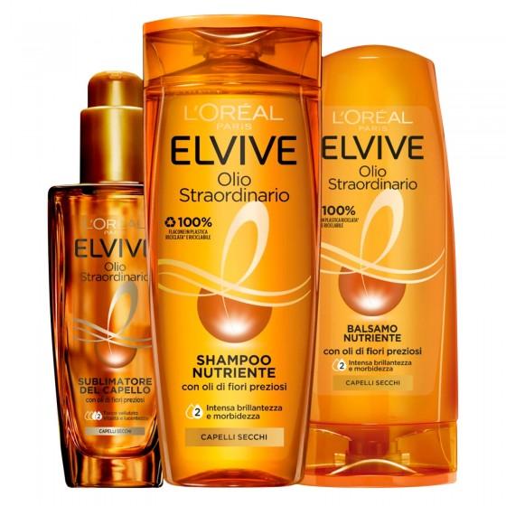 L'Oréal Paris Elvive Olio Straordinario Routine per Capelli Secchi Shampoo Balsamo e Sublimtore - 3 Pezzi
