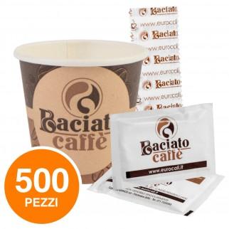 Kit da 500 Bicchierini + 500 Palettine + 500 Bustine di Zucchero Baciato Caffè