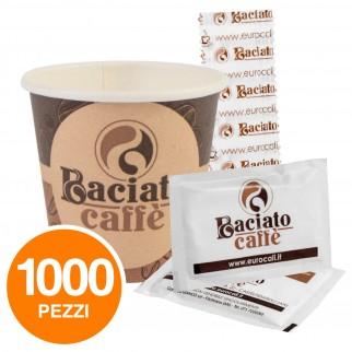 Kit da 1000 Bicchierini + 1000 Palettine + 1000 Bustine di Zucchero Baciato Caffè