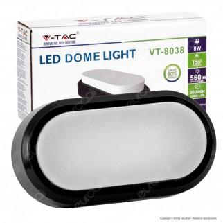 V-Tac VT-8038 Lampada da Muro LED 8W Colore Nero IP54 - SKU 1308 / 1309 / 1310