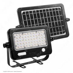 V-Tac VT-788-10 Faro LED 10W a Batteria Ricaricabile con Pannello Solare - SKU 8674