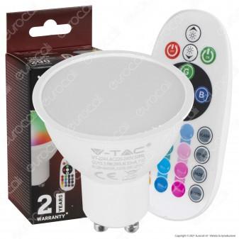 V-Tac VT-2244 Lampadina LED GU10 3,5W Faretto Spotlight 110° RGB+W con Telecomando - SKU 2778 / 2779 / 2780