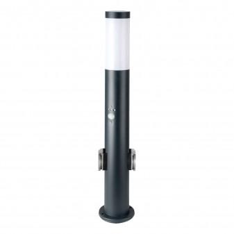 V-Tac VT-838 Lampione Portalampada da Giardino per Lampadine E27 con 2 Prese Schuko e Sensore di Movimento IP44 60cm - SKU 8976
