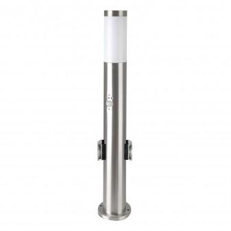 V-Tac VT-838 Lampione Portalampada da Giardino per Lampadine E27 con 2 Prese Schuko e Sensore di Movimento IP44 60cm - SKU 8977
