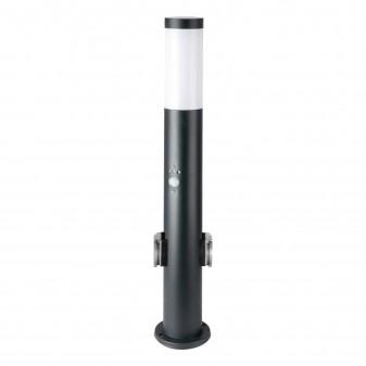 V-Tac VT-838 Lampione Portalampada da Giardino per Lampadine E27 con 2 Prese Schuko e Sensore di Movimento IP44 60cm - SKU 8979