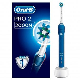Oral-B Pro 2 2000N Spazzolino Elettrico Ricaricabile Bianco e Blu con Testina