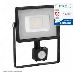 V-Tac PRO VT-20-S Faretto LED 20W Ultra Sottile Slim Chip Samsung con Sensore Colore Nero IP65 - SKU 451 / 452 / 453