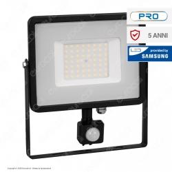V-Tac PRO VT-50-S Faretto LED 50W Ultra Sottile Slim Chip Samsung con Sensore Colore Nero IP65 - SKU 469 / 470 / 471