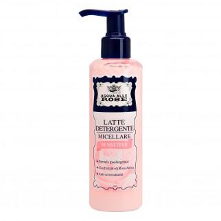 Acqua alle Rose Latte Detergente Micellare Sensitive per Pelli Delicate con Estratto di Rosa Antica - Flacone da 200ml