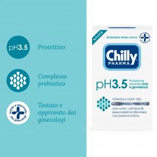 Chilly Pharma pH 3.5 Detergente Intimo Attivo Formula Light Gel con Complesso Prebiotico - Flacone da 250ml