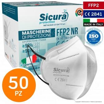 Sicura Protection 50 Mascherine Protettive Colore Bianco Elastici Neri Fattore di Protezione Certificato FFP2 NR in TNT