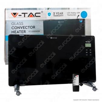 V-Tac VT-2000RWD Termoconvettore in Vetro Temperato con Display LCD e Pannello Touchscreen - SKU 8664