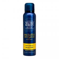 Neutro Roberts Uomo Asciutto Zero Alcol Deodorante con Anti Sudore Essenza Ambrata - Spray da 150ml