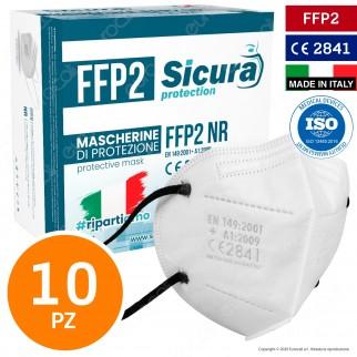 Sicura Protection 10 Mascherine Protettive Colore Bianco Elastici Neri Fattore Protezione Certificato FFP2 NR in TNT Multistrato