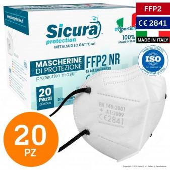 Sicura Protection 20 Mascherine Protettive Colore Bianco Elastici Neri Fattore Protezione Certificato FFP2 NR in TNT Multistrato
