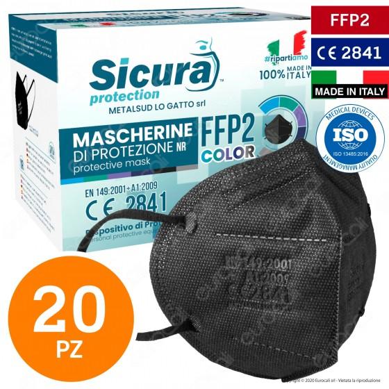 Sicura Protection 20 Mascherine Protettive Colore Nero Elastici Neri Fattore Protezione Certificato FFP2 NR in TNT
