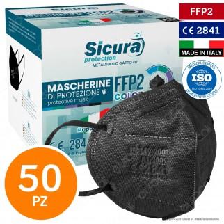 Sicura Protection 50 Mascherine Protettive Colore Nero Elastici Neri Fattore Protezione Certificato FFP2 NR in TNT