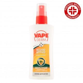 Vape Derm Lozione Antipuntura Scudo Attivo contro Zanzare Comuni Tigre e Tropicali - Spray da 100 ml