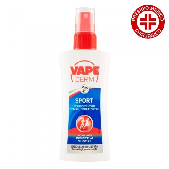Vape Derm Sport Lozione Antipuntura contro Zanzare Comuni Tigre e Zecche - Spray da 100 ml