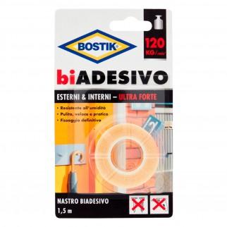 Bostik Nastro Biadesivo per Esterni e Interni Ultra Forte- Blister con 1 Rotolo da 1,5 Metri