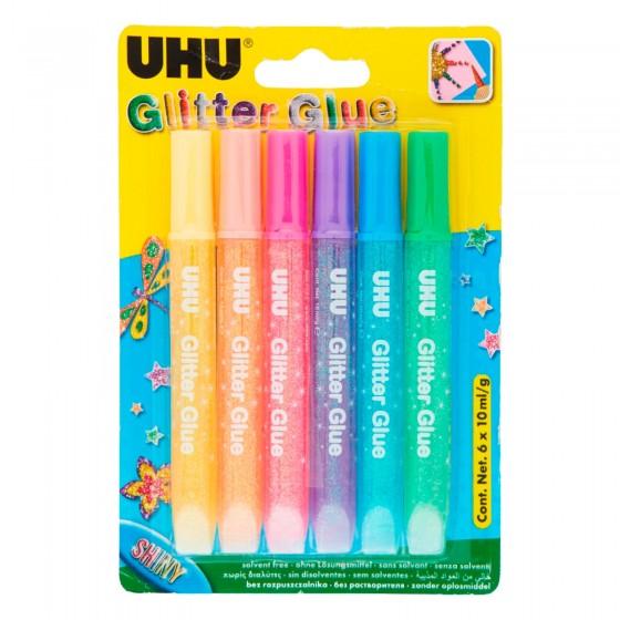 UHU Glitter Glue Shiny Colla a Penna - Blister da 6 Tubetti