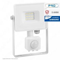 V-Tac PRO VT-10-S Faretto LED 10W Ultra Sottile Slim Chip Samsung con Sensore Colore Bianco - SKU 433 / 434 / 435