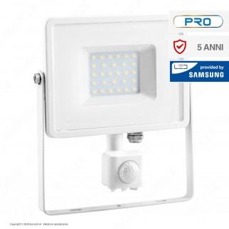V-Tac PRO VT-30-S Faretto LED 30W Ultra Sottile Slim Chip Samsung con Sensore Colore Bianco - SKU 457 / 458 / 459