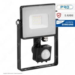 V-Tac PRO VT-10-S Faretto LED 10W Ultra Sottile Slim Chip Samsung con Sensore Colore Nero IP65 - SKU 436 / 437 / 438