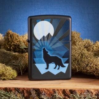 Accendino Zippo Mod. 29864 Wolf and Moon Design - Ricaricabile Antivento