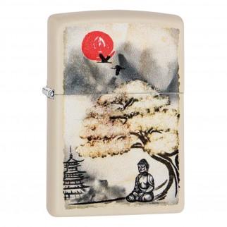 Accendino Zippo Mod. 29846 Pagoda Bonsai Budda Design - Ricaricabile Antivento