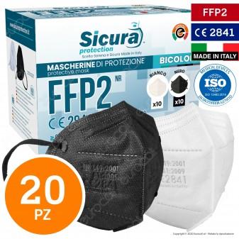 Sicura Protection 20 Mascherine Protettive Doppio Colore 10pz Nere e 10pz Bianche Fattore Protezione Certificato FFP2 NR in TNT