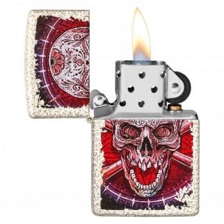 Accendino Zippo Mod. 49410 Skull Design - Ricaricabile Antivento