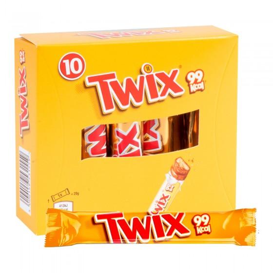 Twix Sticks Snack con Biscotto e Caramello Ricoperto di Cioccolato - Box con 10 Barrette da 20g