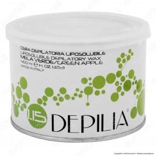 Depilia 1.15 Mela Verde Cera Depilatoria Liposolubile per Ceretta - 1 Barattolo da 400ml