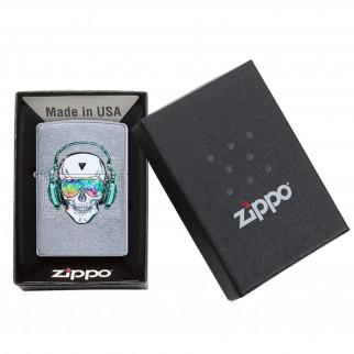 Accendino Zippo Mod. 29855 Skull Headphone Design - Ricaricabile Antivento