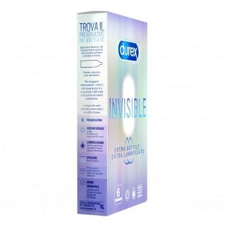 Preservativi Durex Invisible Extra Lube - Scatola 6 pezzi