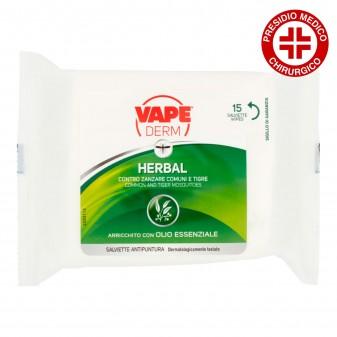 Vape Derm Herbal Salviette Antizanzare Corpo Citronella Eucalipto - Confezione da 15 Salviette
