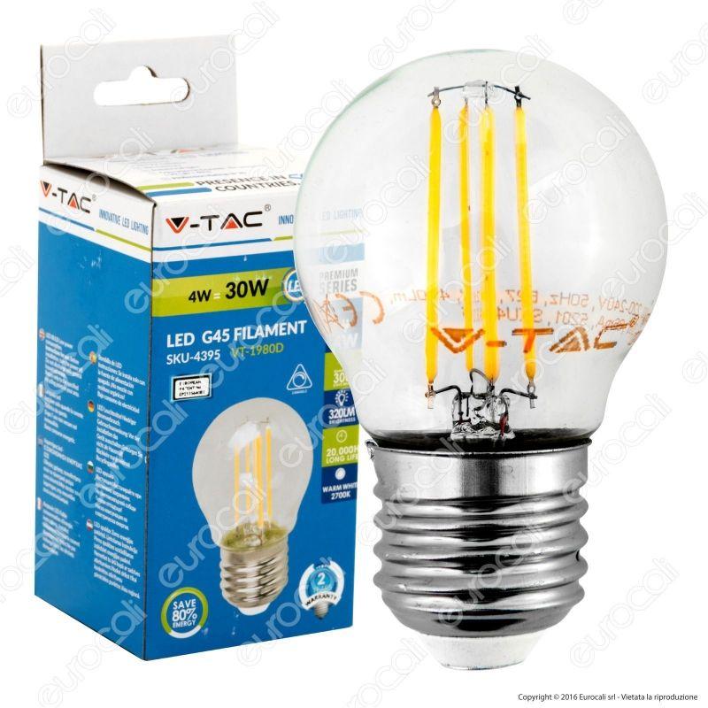 lampadina led dimmerabile : ... Tac VT-1980D Lampadina LED E27 4W MiniGlobo G45 Filamento Dimmerabile