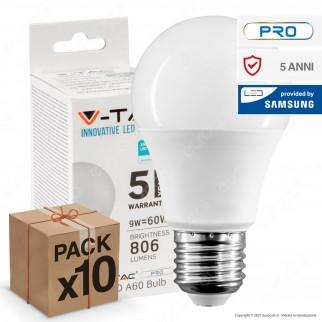 10 Lampadine LED V-Tac PRO VT-210 E27 9W Bulb A60 Chip Samsung - Pack Risparmio