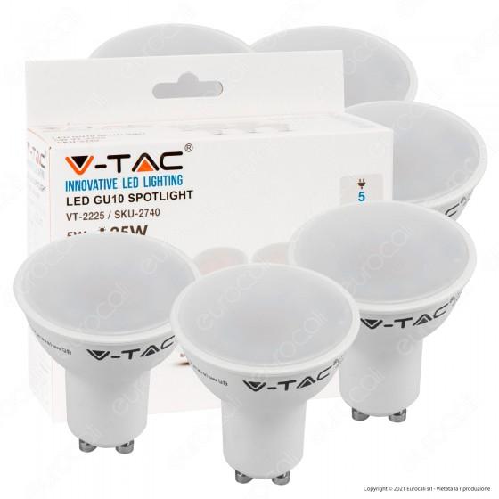 V-Tac VT-2225 Super Saver Pack Confezione 6 Faretti LED GU10 5W Spotlight 110° - SKU 2739 / 2740 / 2741